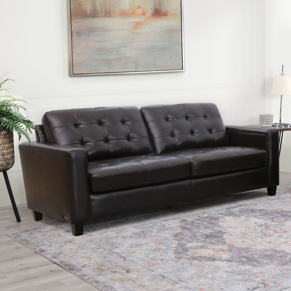 Dion Genuine Leather Sofa by 17 Stories