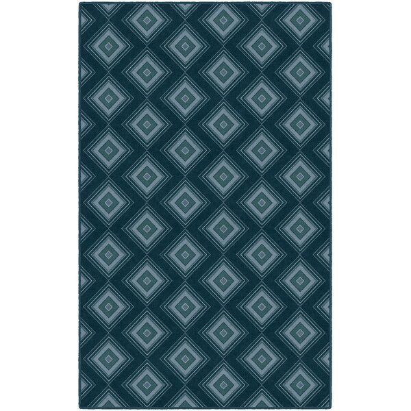 Fortney Geometric Trellis Blue Area Rug by Wrought Studio