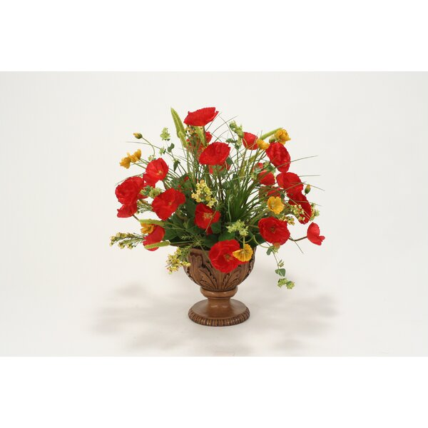 Poppies, Grasses, Bay Leaves in Acanthus Leaf Urn by Distinctive Designs