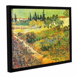 Flowering Garden By Vincent Van Gogh Framed Painting Print On Wrapped Canvas