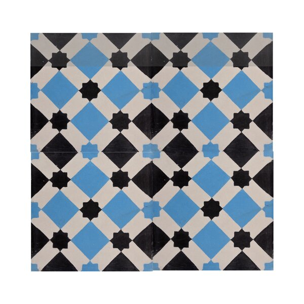 Ait Baha 8 x 8 Handmade Cement Tile  in Black/Blue by Moroccan Mosaic