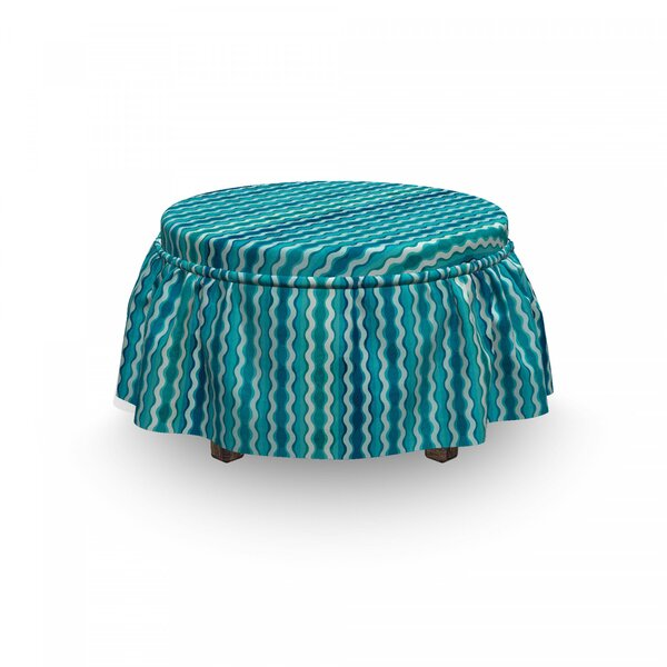 Wavy Stripe Ottoman Slipcover (Set Of 2) By East Urban Home