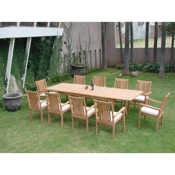 Jarvis Luxurious 11 Piece Teak Dining Set by Rosecliff Heights