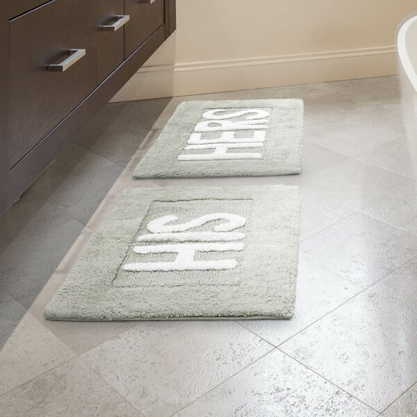 His and Hers Cotton 2 Piece Bath Rug Set by Jean Pierre