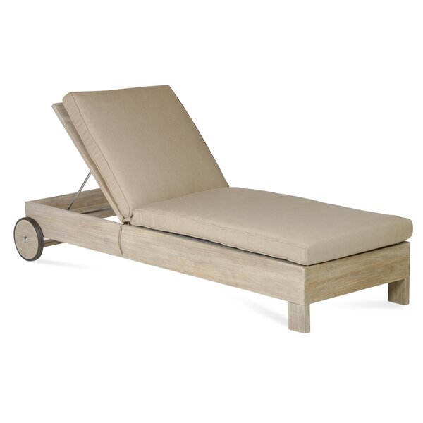 Boykin Teak Chaise Lounge with Cushion by Rosecliff Heights