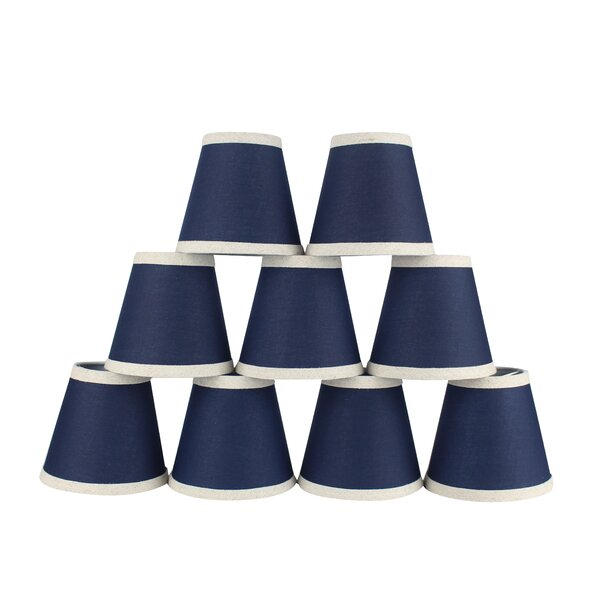 4.5 H Cotton Empire Lamp Shade ( Clip On ) in Navy Blue/Natural (Set of 9)