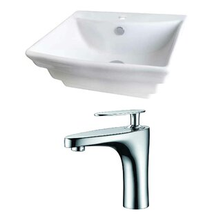 Best Choices Above Counter Ceramic Rectangular Vessel Bathroom Sink with Faucet and Overflow ByRoyal Purple Bath Kitchen