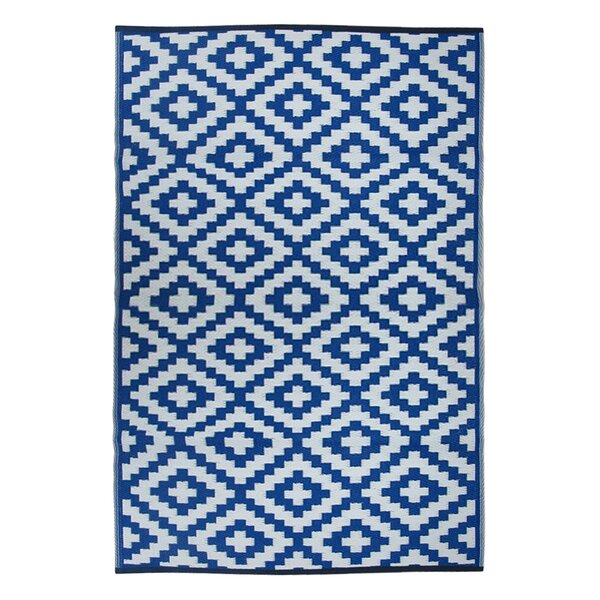Lightweight Reversible Blue/White Indoor/Outdoor Area Rug by Wildon Home ®