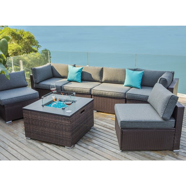 Cosette 7 Piece Rattan Sectional Seating Group with Cushions by Longshore Tides