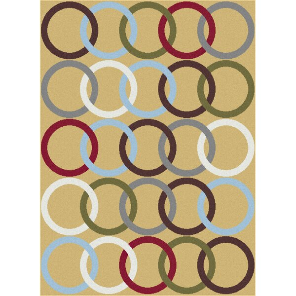 Urban Contemporary Circles Gold Area Rug by Mayberry Rug