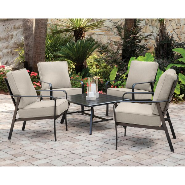 Colson 5-Piece Commercial-Grade Patio Seating Set with 4 Cushioned Club Chairs and an Aluminum Slat-Top Coffee Table by Gracie Oaks