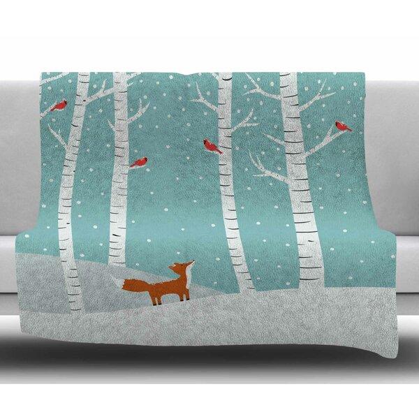 Fox Cardinals Winter by Cristina Bianco Design Fleece Blanket by East Urban Home