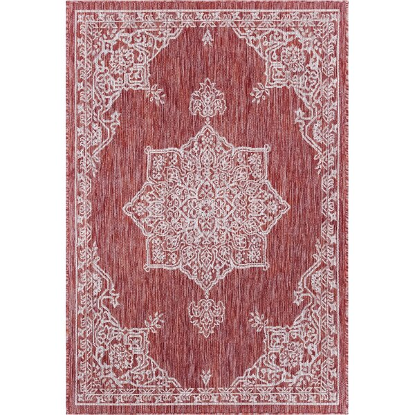 Cowger Red/White Indoor/Outdoor Area Rug by Charlton Home