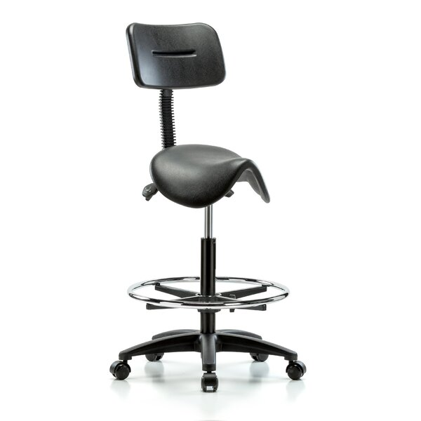 Height Adjustable Saddle Stool with Back and Foot Ring by Perch Chairs & Stools