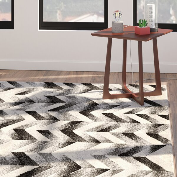 Willow Chevron Gray/Black Area Rug by Langley Street