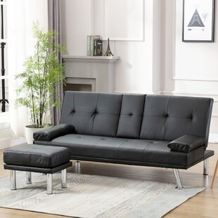 Sofa Bed Air Leather Modern Convertible Folding Futon Recliner Couch Metal Legs, 2 Cup Holders, 1 Footrest (Black) by Ebern Designs