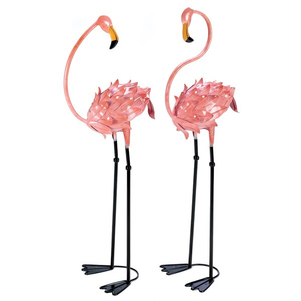 Flamboyant 2 Piece Flamingo Garden Stake Set by Zingz & Thingz