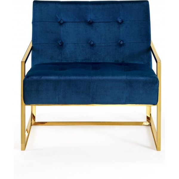 Emerick Velvet Armchair by Everly Quinn