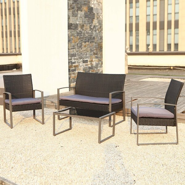 Wycoff 4 Piece Rattan Conversation Set with Cushions by Orren Ellis