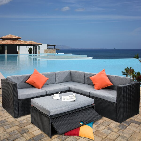 Dangelo 4 Piece Rattan Sectional Seating Group with Cushions by Bayou Breeze Bayou Breeze
