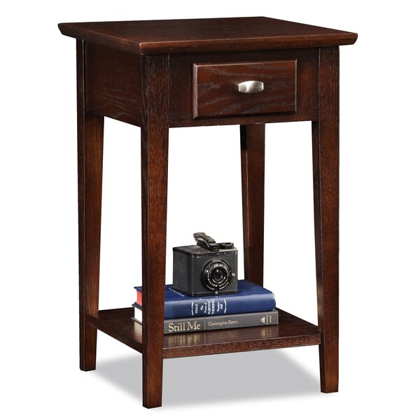 Huges Chocolate Oak End Table with Storage by Charlton Home Charlton Home