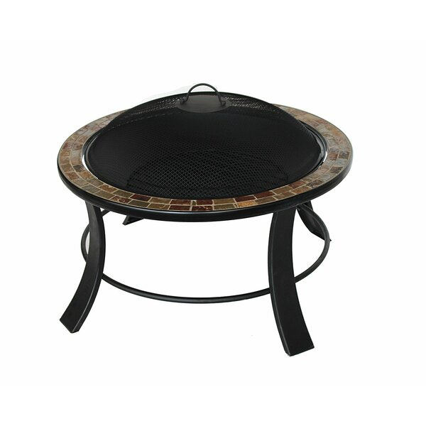 Mosaic Tile Slated Steel Wood Burning Fire Pit by ALEKO