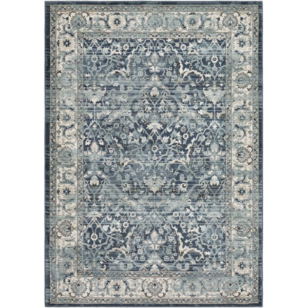 Laguna Distressed Navy/Gray Area Rug by Ophelia & Co.