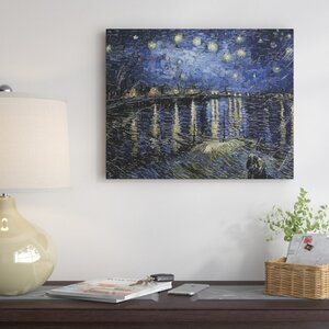 'Starry Night Over Rhone' by Vincent Van Gogh Oil Painting Print on Wrapped Canvas by Red Barrel Studio