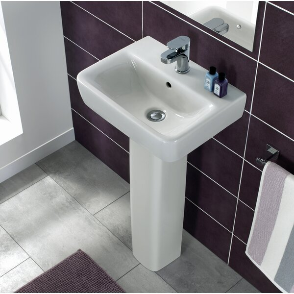 Comprimo Ceramic 18 Pedestal Bathroom Sink with Overflow by Bissonnet