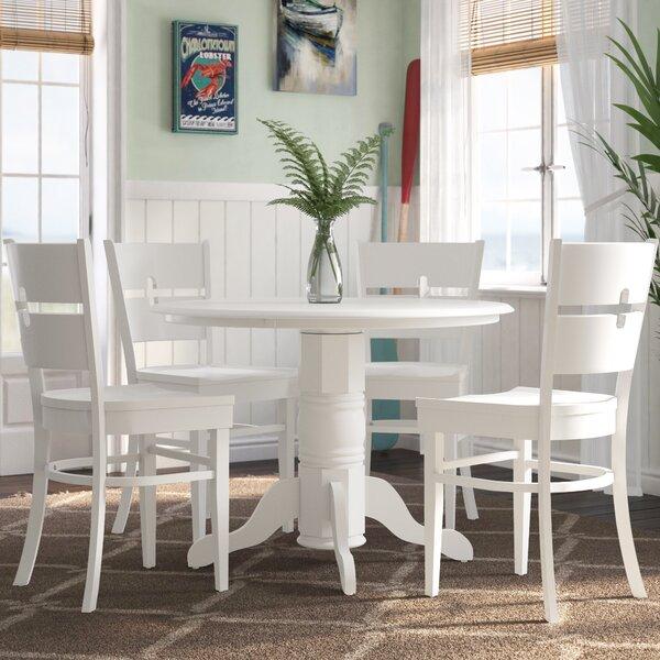 Langwater 5 Piece Pedestal Wood Dining Set by Beachcrest Home