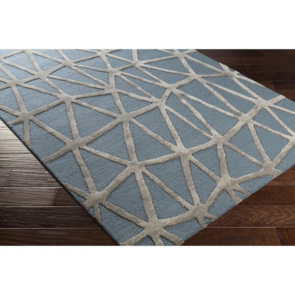 Blandon Hand-Tufted Blue/Gray Area Rug by Wrought Studio