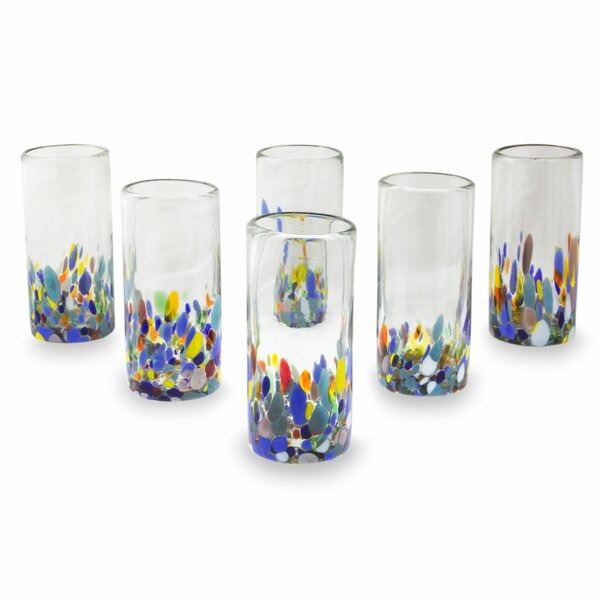 Confetti Festival 11 oz. Highball Glass (Set of 6) by Novica