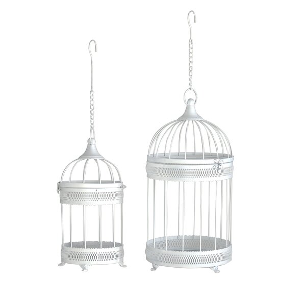 Vicknair Distressed Bird Cage 2-Piece Metal Planter Box Set by Ophelia & Co.