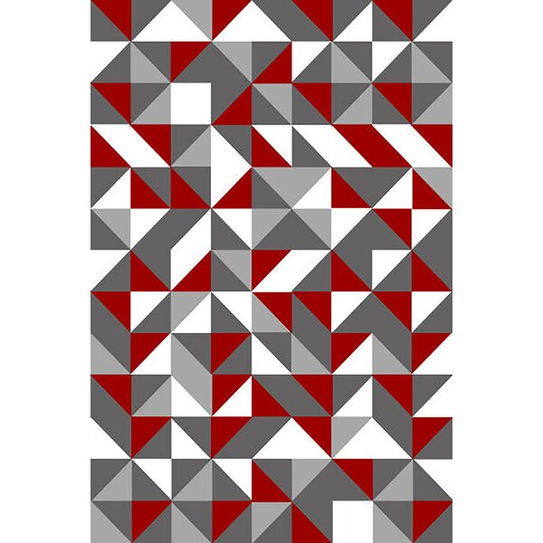 Allegan Abstract Gray/Red Area Rug by Ivy Bronx