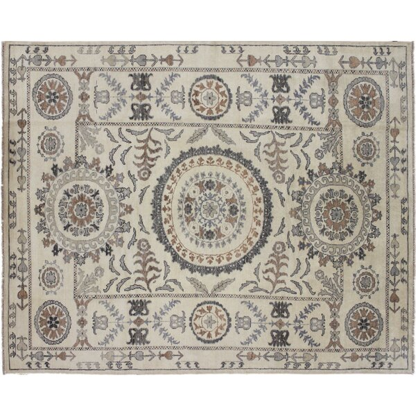 One-of-a-Kind Gena Hand Knotted Wool Ivory Area Rug by Isabelline