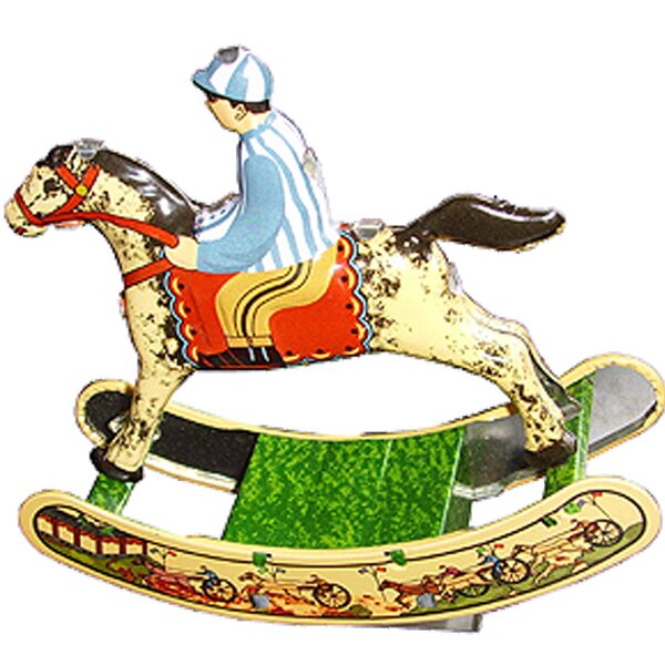 Collectible Decorative Tin Toy Horse with Rider by Alexander Taron