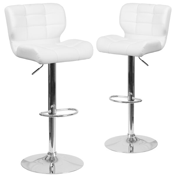 North Widcombe Adjustable Height Swivel Bar Stool (Set of 2) by Orren Ellis