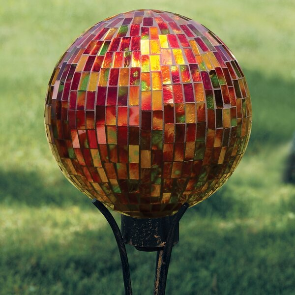 Art Glass Garden Hues Hand Painted Mosaic Glass Gazing Globe by Carson Home