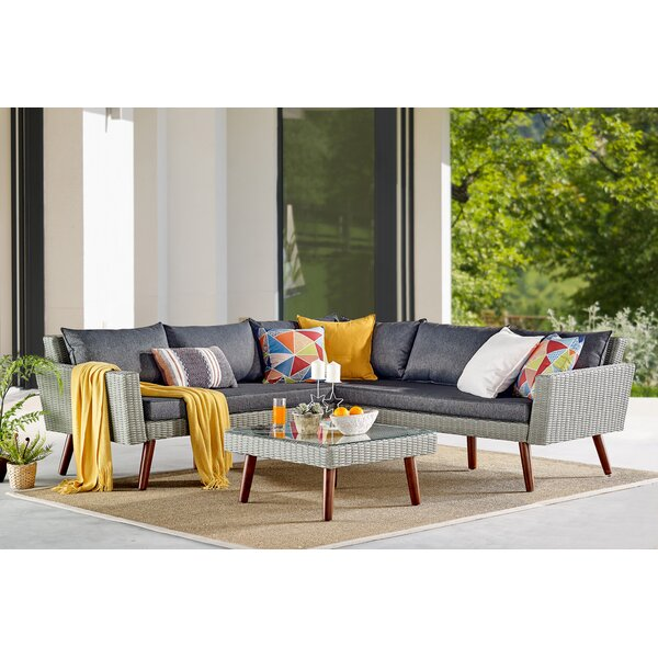 3 Piece Rattan Complete Patio Set with Cushions by Highland Dunes