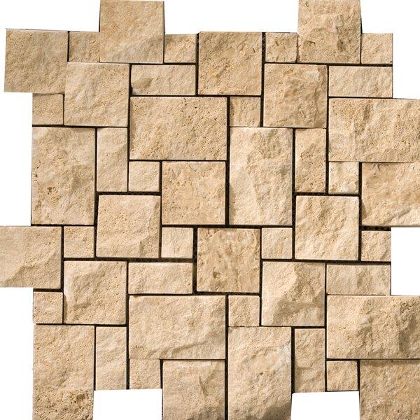 Travertine 12 x 12 Splitface Versailles Mosaic Tile in Beige by Emser Tile