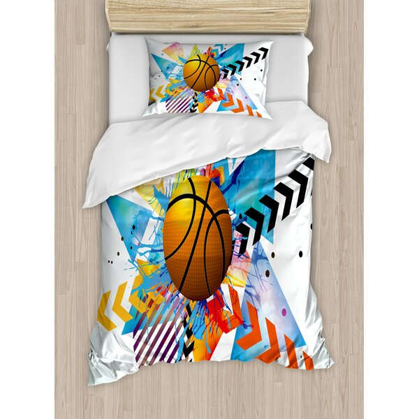 Basketball in front of Zigzag Circular Geometric Minimalist Forms Graphic Duvet Set by East Urban Home