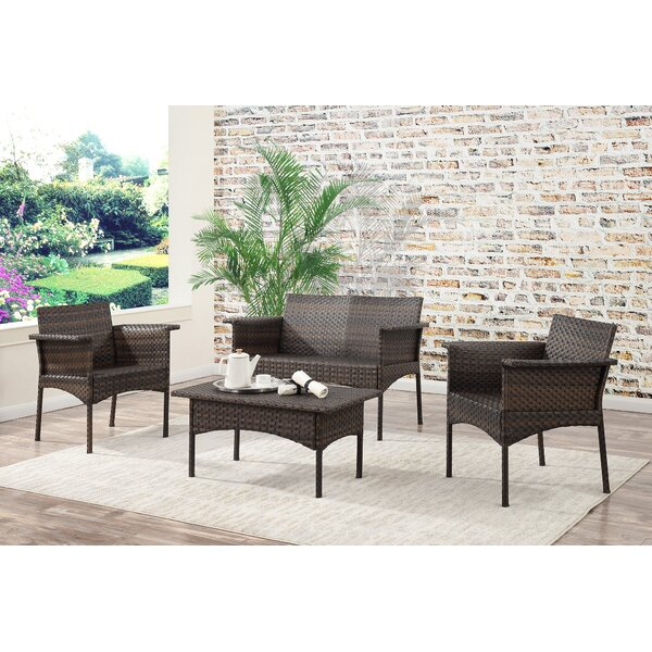 Albia 4 Piece Rattan Sofa Seating Group by Bayou Breeze