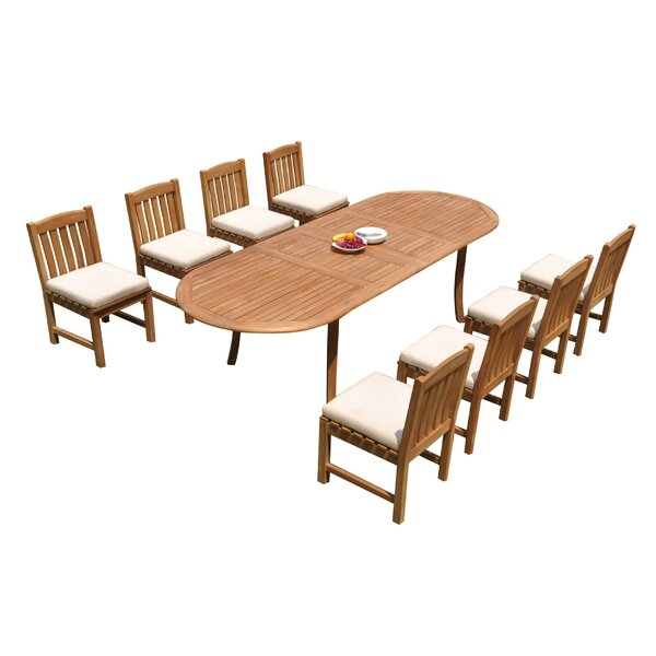 Nobhill 9 Piece Teak Dining Set by Rosecliff Heights