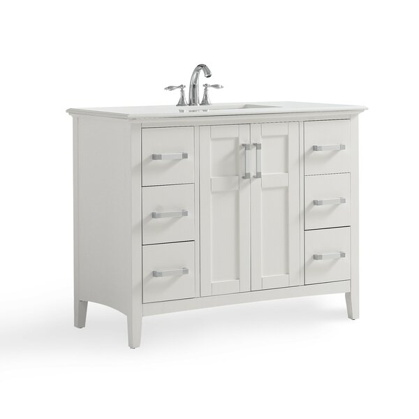 Winston 43 Single Bathroom Vanity with Quartz Marble Top by Simpli Home