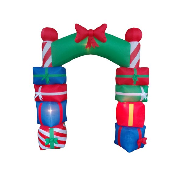 Christmas Inflatable Gift Boxes Arch with Bow Tie by The Holiday Aisle