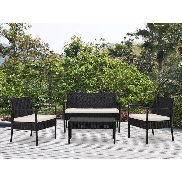 Kobe 4 Piece Rattan Sofa Seating Group with Cushions by Wade Logan