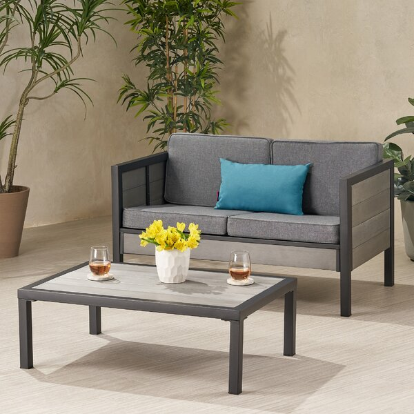 2 Piece Seating Group with Cushions by Wrought Studio