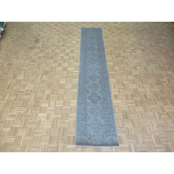 One-of-a-Kind Baltic Over-dyed Hand-Knotted Wool Silver Blue Area Rug by Ophelia & Co.