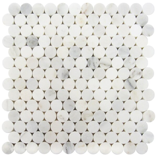 1 x 1 Marble Mosaic Tile in Oriental White by Luxsurface