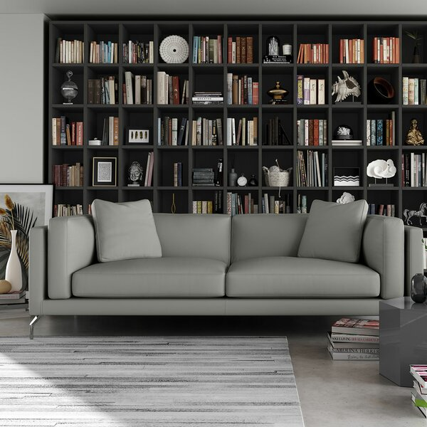 Reade Leather Sofa by Modloft Black